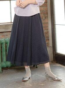 【SALE/20%OFF】Petit Honfleur シアーナイロンフレアースカート プチオンフルール スカート フレアスカート ネイビー ブラウン【送料無料】