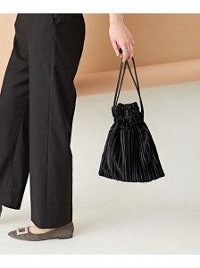 【SALE/10%OFF】nano・universe WEB限定/ショルダーベルト付きプリーツベロア巾着バッグ ナノユニバース バッグ ショルダーバッグ ブラック ベージュ グレー