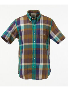 J. Press Madras Short Sleeve Button Down Shirt with Flap Pocket HHOVKM0230