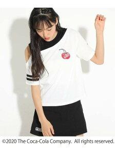 【SALE/60%OFF】PINK-latte 【COCA-COLA/Cherry Coke/コカ・コーラ/チェリーコーク】ワンショルTシャツ ピンク ラテ カットソー Tシャツ ホワイト ブラック ピンク