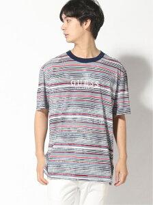 【SALE/30%OFF】GUESS (M)BOARDWALK STRIPE CREWNECK TEE ゲス カットソー Tシャツ ブルー【送料無料】
