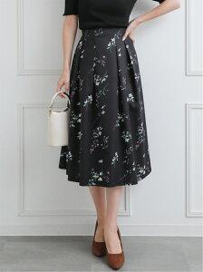 【SALE/50%OFF】clear 花柄タックボリュームスカート クリア スカート フレアスカート ブラック
