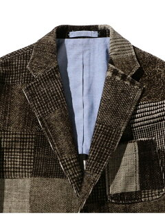 Patchwork Corduroy Sack Sport Coat 11-16-1668-803: Grey