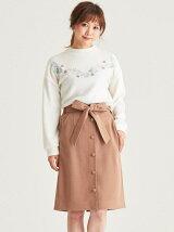 リボン付前ボタンIラインスカート