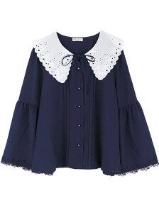 【SALE/24%OFF】axes femme (W)刺繍入りビッグカラーブラウス アクシーズファム シャツ/ブラウス 長袖シャツ ネイビー ピンク ホワイト