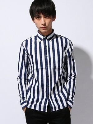 【40%OFF】HVC (M)千鳥ストライプシャツ ジージーディー【RBA_S】【RBA_E】