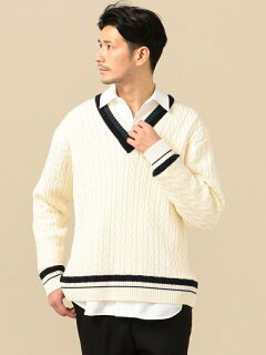 Wool Cable Cricket Sweater 116-05-0247: White