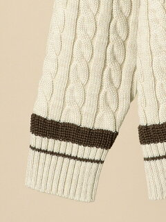 Wool Cable Cricket Sweater 116-05-0247: Beige