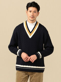 Wool Cable Cricket Sweater 116-05-0247: Navy