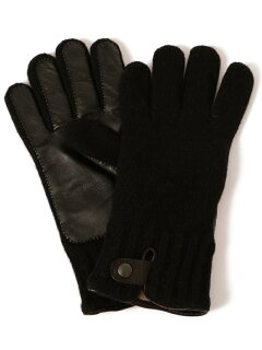 Knit Leather Gloves 118-74-0013: Black