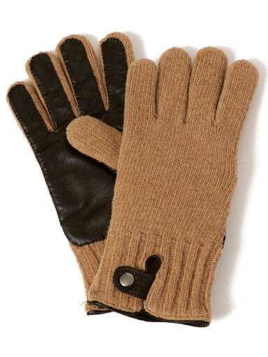 Knit Leather Gloves 118-74-0013: Khaki