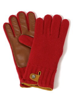 Knit Leather Gloves 118-74-0013: Red