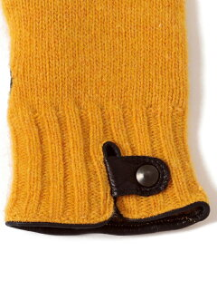 Knit Leather Gloves 118-74-0013: Yellow