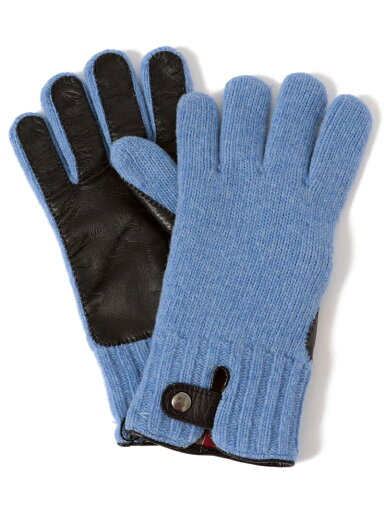 Knit Leather Gloves 118-74-0013: Light Blue