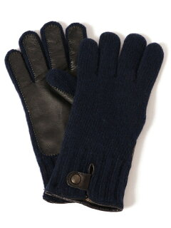 Knit Leather Gloves 118-74-0013: Blue