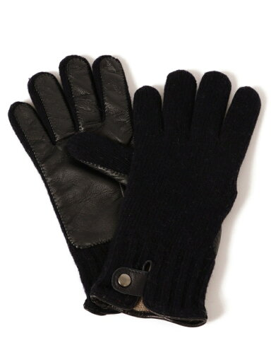 Knit Leather Gloves 118-74-0013: Navy