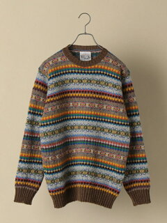 Shetland Wool Fair Isle Crewneck Sweater 116-05-0236: Khaki