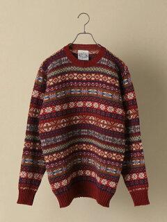 Shetland Wool Fair Isle Crewneck Sweater 116-05-0236: Wine