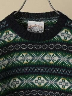 Shetland Wool Fair Isle Crewneck Sweater 116-05-0236: Green