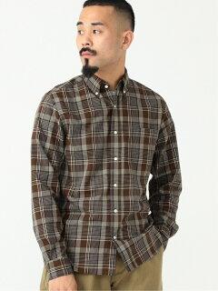 Dark Check Buttondown Shirt 11-11-5970-139: Brown
