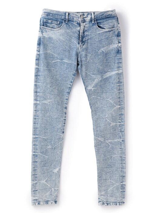 【SALE/50%OFF】COLLECTIVE ケミカルウォッシュスキニーパンツ メンズ ビギ パンツ/ジーンズ フルレングス ブルー