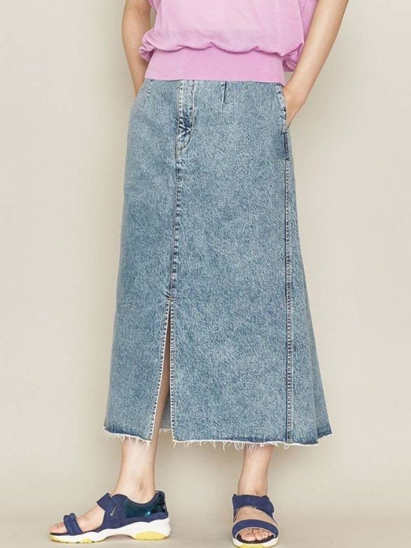 ASTRAET <ASTRAET(アストラット)>ケミカルウォッシュデニムスカート ユナイテッドアローズ スカート ロングスカート ブルー【送料無料】