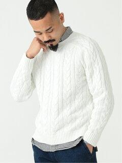 5-gauge Cotton Cable Crewneck Sweater 11-15-1323-103: White
