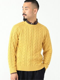 5-gauge Cotton Cable Crewneck Sweater 11-15-1323-103: Yellow