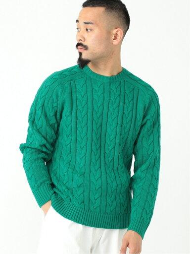 5-gauge Cotton Cable Crewneck Sweater 11-15-1323-103: Green