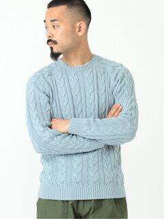 5-gauge Cotton Cable Crewneck Sweater 11-15-1323-103: Saxe