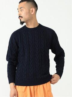 5-gauge Cotton Cable Crewneck Sweater 11-15-1323-103: Navy