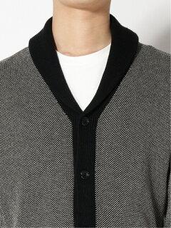 Cotton Linen Birdseye Shawl Collar Cardigan 11-15-1326-156: Black