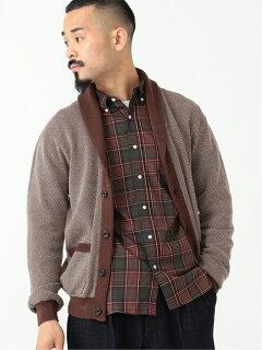 Cotton Linen Birdseye Shawl Collar Cardigan 11-15-1326-156: Heather Brown