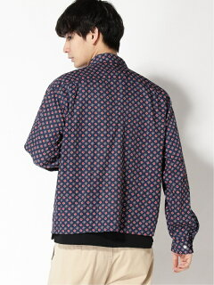 Geometric Pattern Zip Blouson 11-18-5266-139: Navy