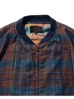 Plaid Corduroy Sport Blouson 11-18-5279-139: Navy / Orange