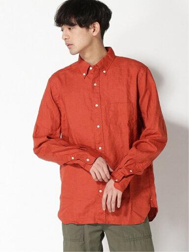 Linen Buttondown Shirt 11-11-5969-139: Orange