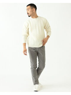 Wool Cable Crewneck Sweater 11-15-1343-048: White
