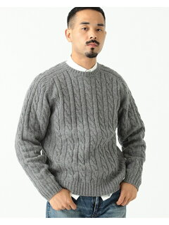 Wool Cable Crewneck Sweater 11-15-1343-048: Grey