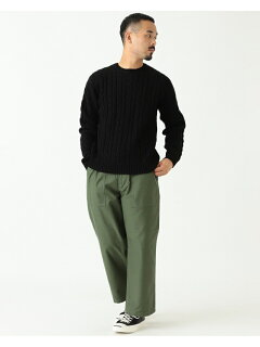 Wool Cable Crewneck Sweater 11-15-1343-048: Black