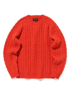 Wool Cable Crewneck Sweater 11-15-1343-048: Red