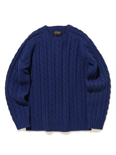 Wool Cable Crewneck Sweater 11-15-1343-048: Blue