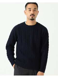 Wool Cable Crewneck Sweater 11-15-1343-048: Navy