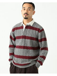 Blended Wool Stripe Rugby Cable Sweater 11-15-1353-103: Grey
