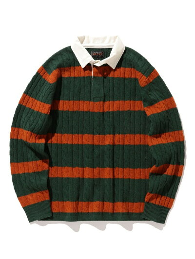 Blended Wool Stripe Rugby Cable Sweater 11-15-1353-103: Green