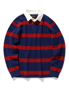 Blended Wool Stripe Rugby Cable Sweater 11-15-1353-103: Blue