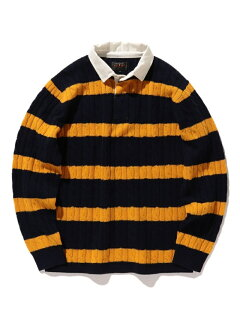 Blended Wool Stripe Rugby Cable Sweater 11-15-1353-103: Navy