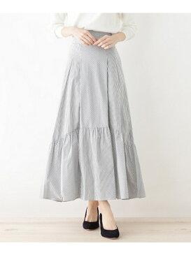 【SALE/60%OFF】OPAQUE.CLIP 【洗える】ストライプロングギャザースカート オペークドットクリップ スカート【RBA_S】【RBA_E】