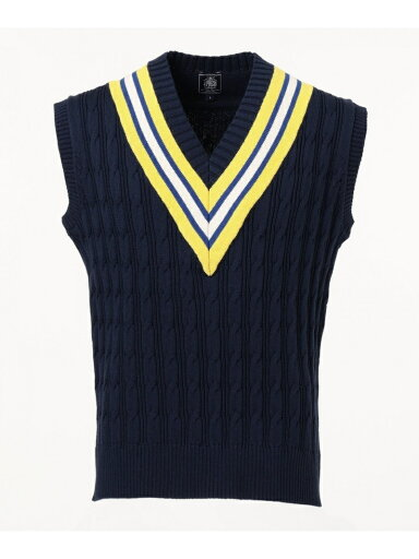 J. Press Cable Cricket Vest KROVKM0022: Navy