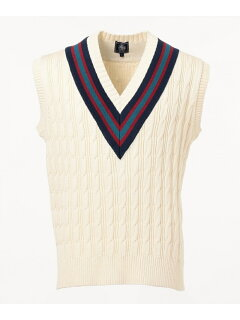 J. Press Cable Cricket Vest KROVKM0022: Ivory
