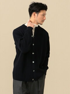Hard Twist Wool Crewncek Cardigan 116-45-0215: Navy